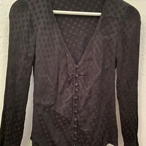 Madewell black polkadot blouse top size 0